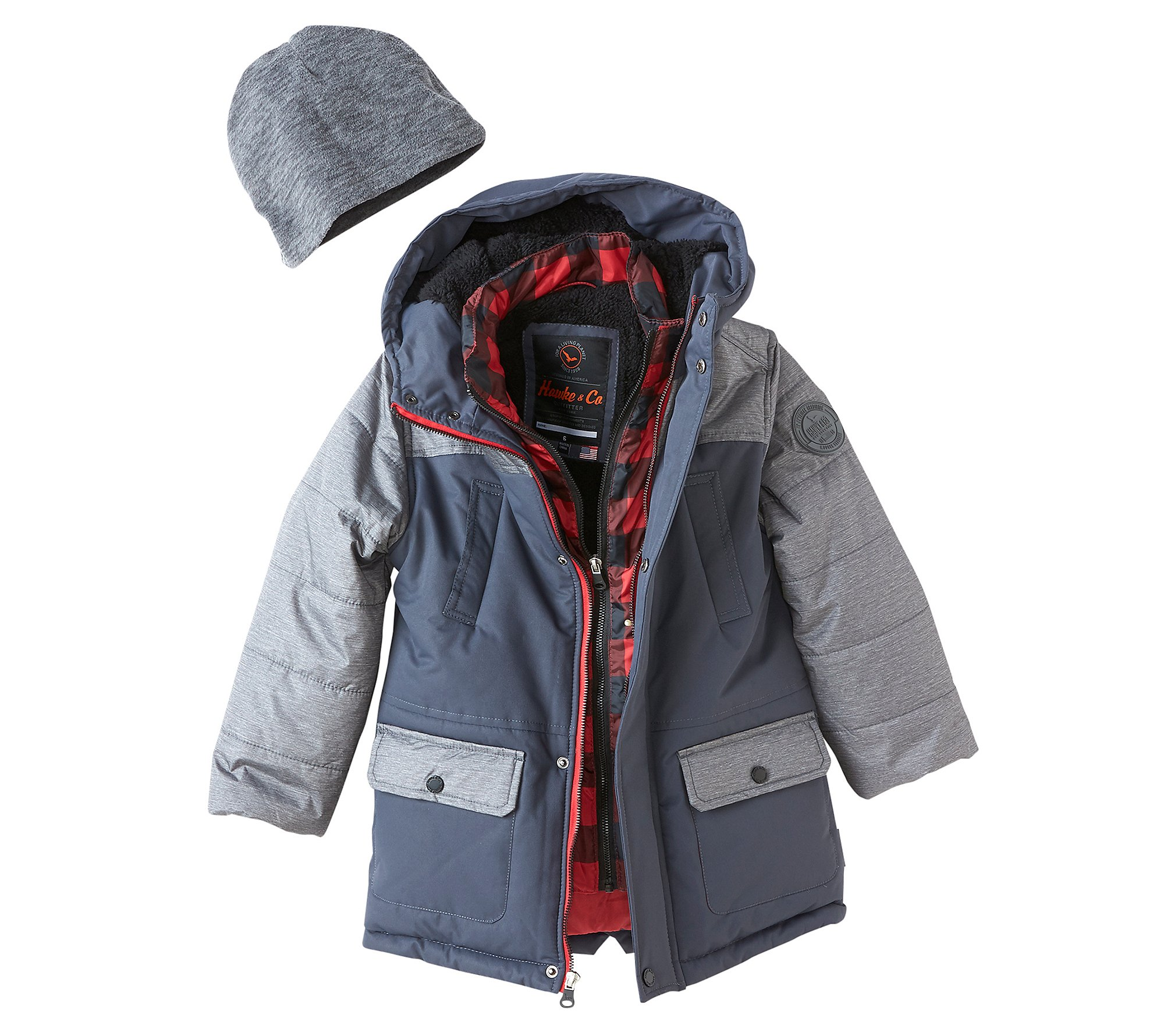 Hawke & Co Boys' 4-7 Parka Jacket with Hat Smoked Peat 6