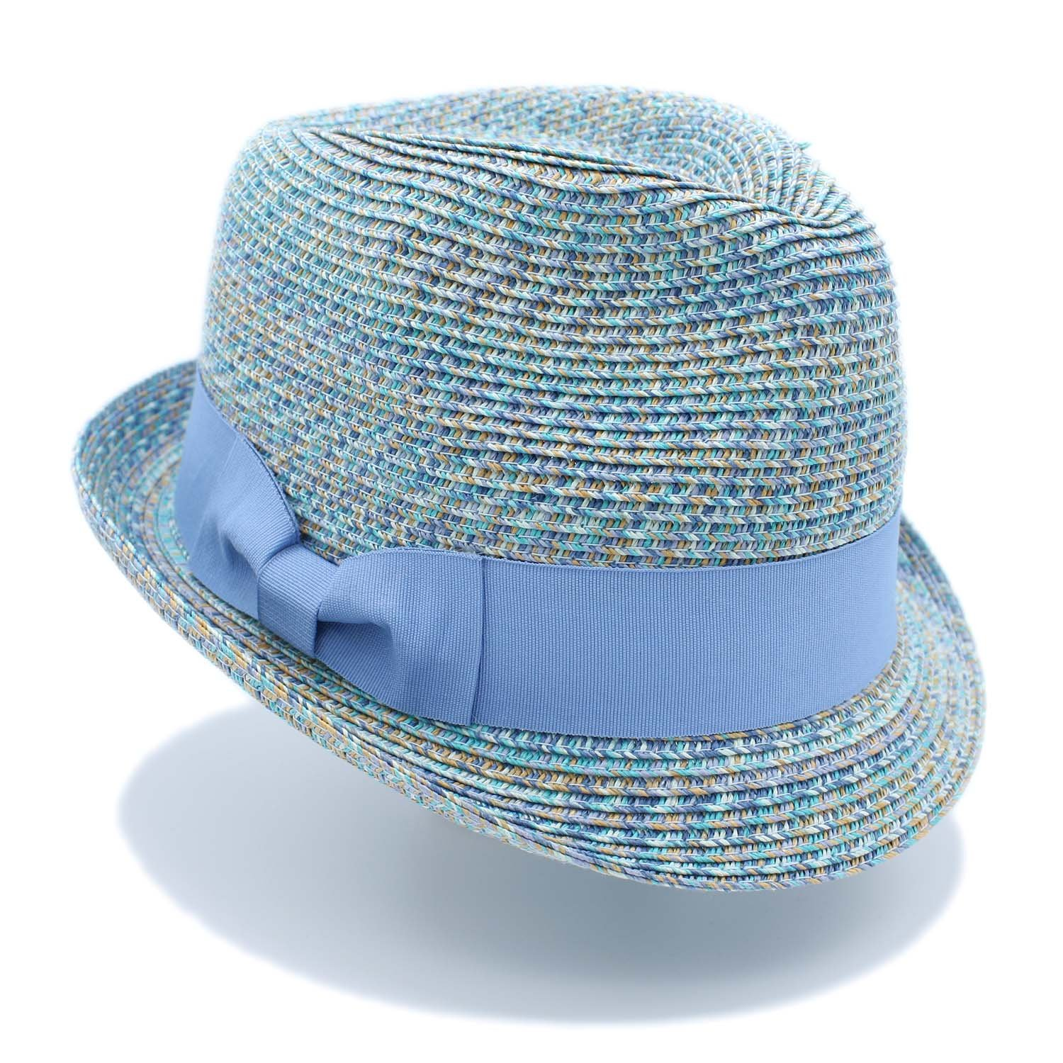 The Hatter Narrow Brim Multi Color Straw Fedora with Bow Band