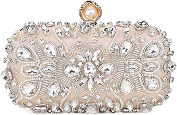 Womens Beaded Crystal Clutch Rhinestone Evening Bag Wedding Bridal Prom Purse.