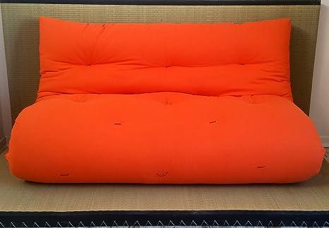 Divano letto futon double face base tatami colori rosso arancio