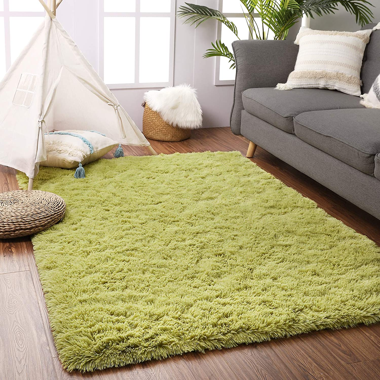Beglad 5.3 ft x 7.5 ft Soft Fluffy Area Rug Modern Shaggy Bedroom Rugs for Kids Room Extra Comfy Nursery Rug Floor Carpets Boys Girls Fuzzy Shag Fur Home Decor Rug, Green
