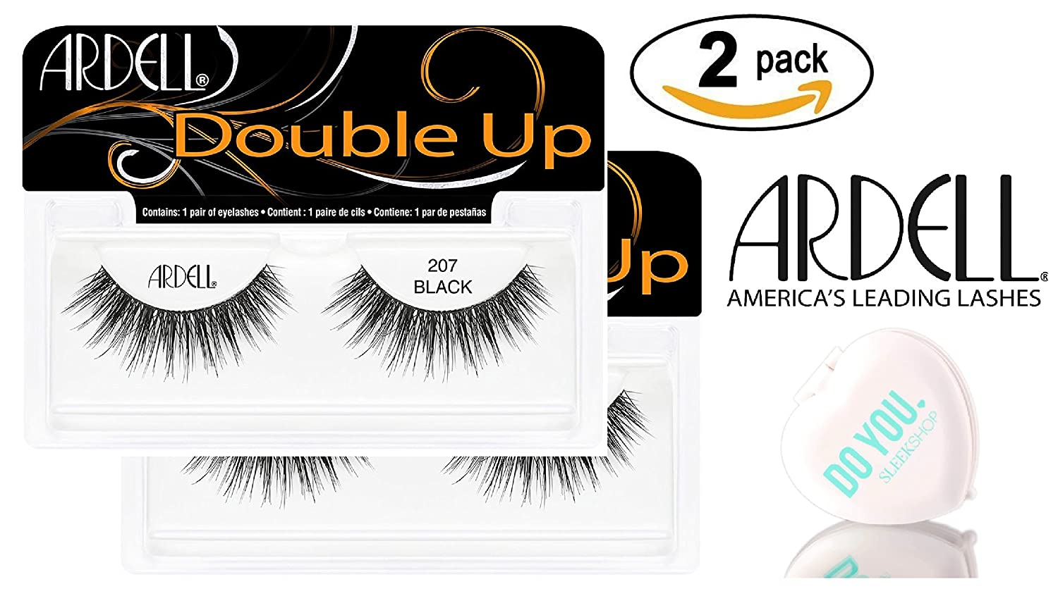 56669b137f0 Amazon.com : Ardell Professional DOUBLE UP Lashes, 2-pack (with Sleek  Compact Mirror) (Double Wispies (2-pack)) : Beauty