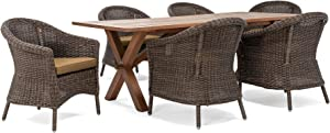 La-Z-Boy Outdoor Cumberland 7 Piece (6 Chairs, 1 Table) Dining Set, Brown