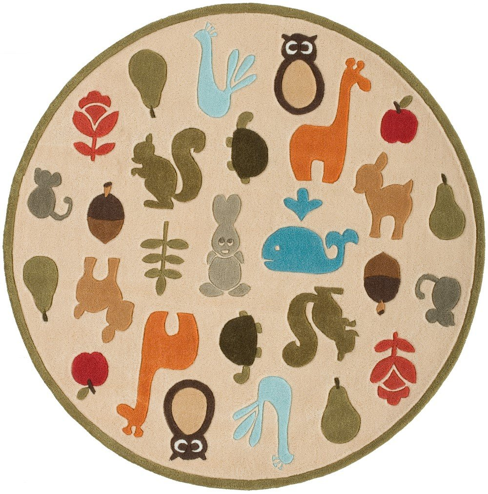 Momeni Rugs LMOJULMJ-2IVY500R Lil' Mo Whimsy Collection, Kids Themed Hand Carved & Tufted Area Rug, 5' Round, Multicolor Animals on Ivory