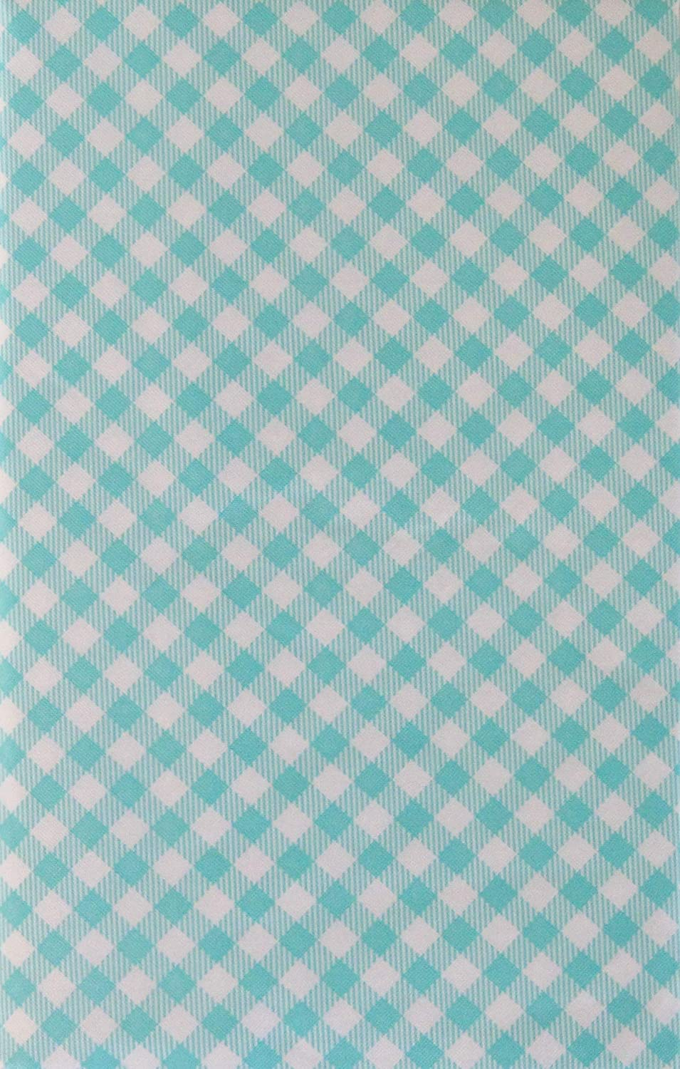 Summer Fun by Elrene Gingham Small Check Bias with Zipper Umbrella Hole Vinyl Flannel Back Tablecloth 70 Round, Aqua