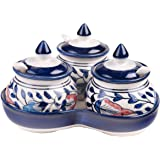 CRAFTGHAR Ceramic Food and Microwave Safe 3 Jars with Lids, 3 spoons, 1 Tray Pickle serving Set, 2.5x3-inch(Blue and Orange)