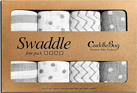 Large 4 Feet x 4 Feet Cuddlebug 4 Pack Muslin Baby Swaddle Blankets for Boys and Girls 0 to 3 Months Unisex 100/% Premium Muslin Cotton Multifunctional Baby Blankets Safari Friends