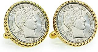 product image for American Coin Treasures Silver Barber Dime Rope Bezel Cuff Links