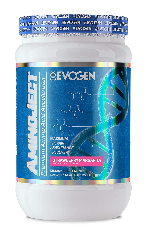 Evogen AminoJect, Vegan Fermented Plant Based BCAA, Glutamine, Citrulline Powder, Strawberry Margarita, 30 Servings