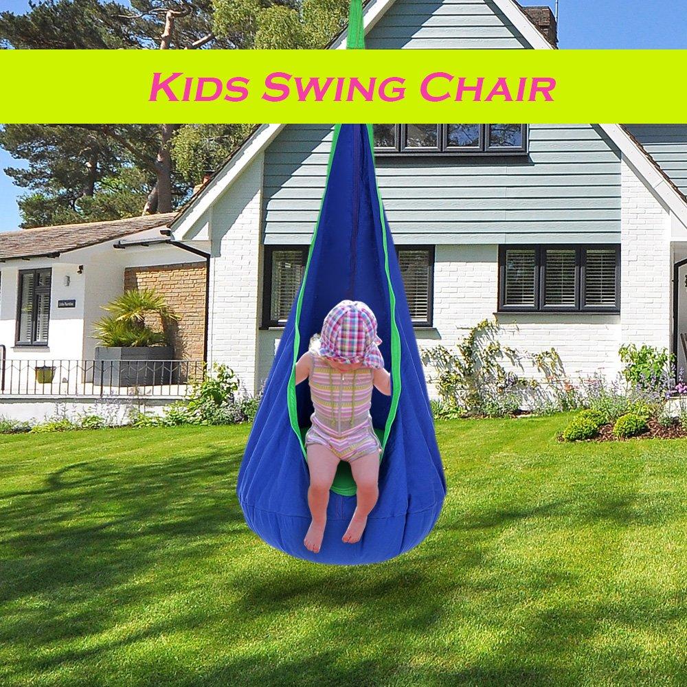 Lixada Kids Podスイング椅子インドアアウトドア折りたたみ式Hanging Hammock Chairスイングシート B075MMLT1Y