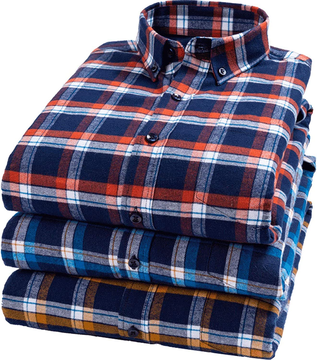 Gihuo Mens Winter Warm Casual Cotton Placid Long Sleeve Fleece Lined Button Down Shirt