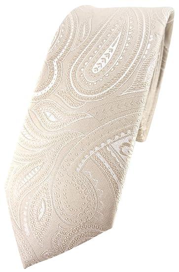 TigerTie estrecho diseñador corbata de seda - beige crema plata ...