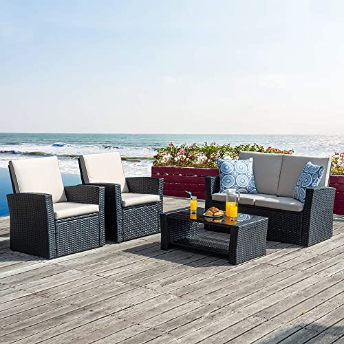Walsunny Quality Outdoor Living,Outdoor Patio Furniture Sets,4 Piece Conversation Set Wicker Ratten Sectional Sofa with Seat Cushions Black