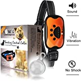 LOVATIC Anti Bark Collar - Humane, No Shock Dog Bark Collar - Training Collar Control Barking With Vibration & Sound Stimuli - 7 Levels Sensitivity Adjustment - Waterproof Led Clip Gift