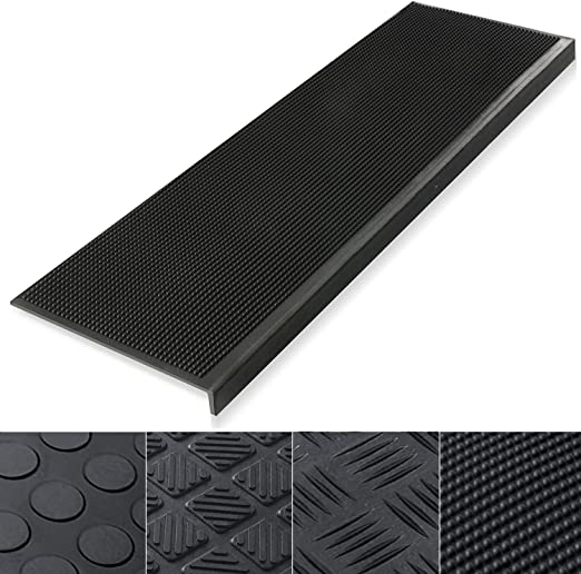30 x 10-0.3 Thick Indoor /& Outdoor Bullnose Rubber Non-Slip Stair Treads