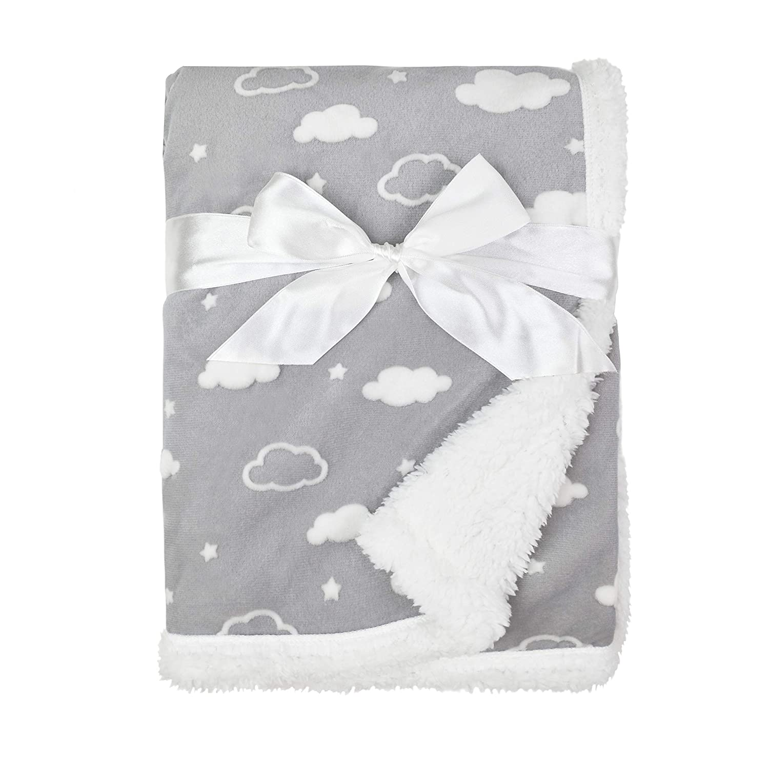 "American Baby Company Heavenly Soft Sherpa/Chenille Receiving Blanket, 3D Cloud Grey, 30"" x 35"", for Boys and Girls : Baby"