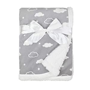 """American Baby Company Heavenly Soft Sherpa/Chenille Receiving Blanket, 3D Cloud Grey, 30"""" x 35"""", for Boys and Girls"""