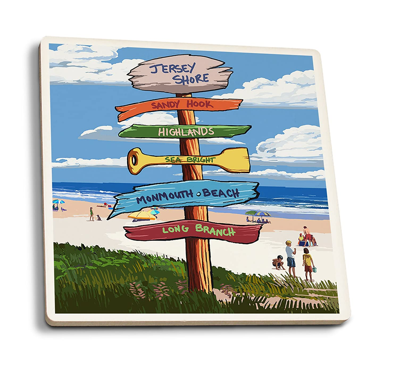 【海外 正規品】 Jersey Signpost Shore – – Signpost Destinations 4 Coaster Coaster Set LANT-52305-CT B01N8WW1PB 4 Coaster Set, 輸入洋食器の専門店イデール:be8ddd90 --- arianechie.dominiotemporario.com