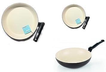 Moneta, Vitech Smart - Juego de 3 unidades, con wok de 28 cm y sartenes de 32 y 24 cm con mango plegable: Amazon.es: Hogar