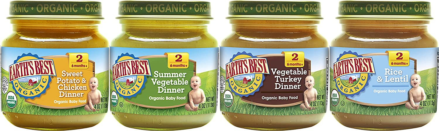earth s best organic stage 2 baby food delicious din din variety pack sweet potatoes chicken summer vegetable vegetable turkey and rice lentil