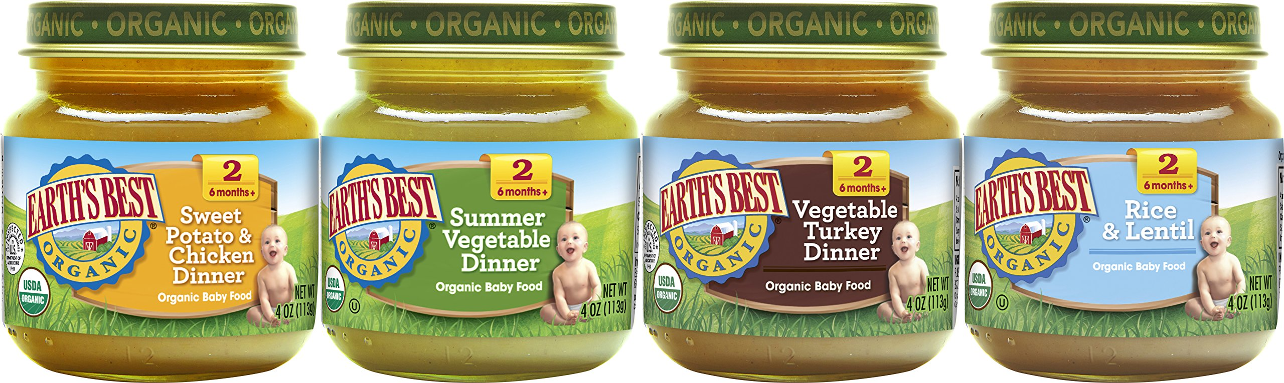 Earth's Best Organic Stage 2 Baby Food, Delicious Din Din Variety Pack, 4 oz. Jar (12 Count) by Earth's Best