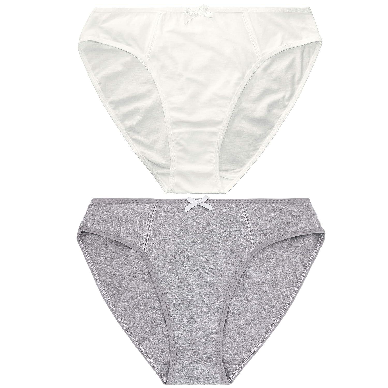 Curve Muse Bragas de Cintura Media Braguitas de Bikini 100/% algod/ón para Mujer Paquete de 6 Bragas