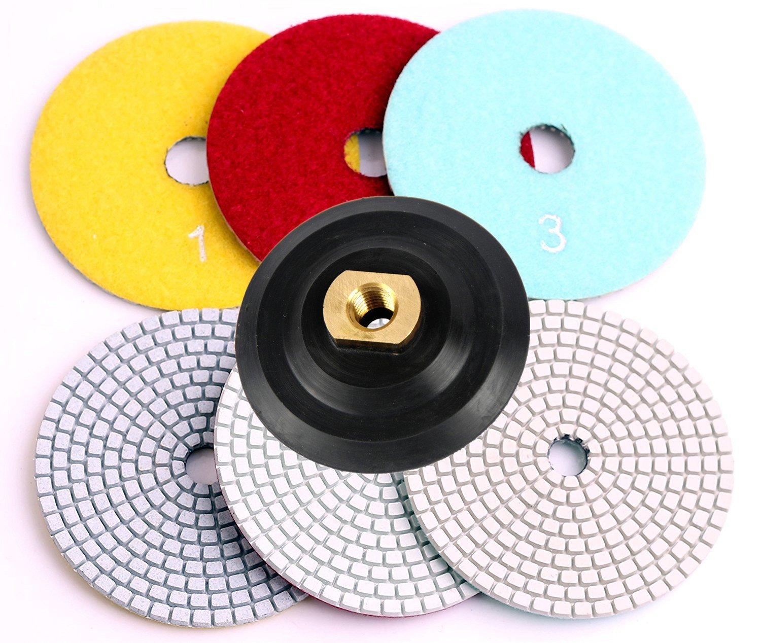 4 Inch Wet Dry Diamond Polishing Pads 3 Pcs Set with Rubber Backer for Granite,Stone,Marble 5/8-11 thread (3 Pads,1 Backer)