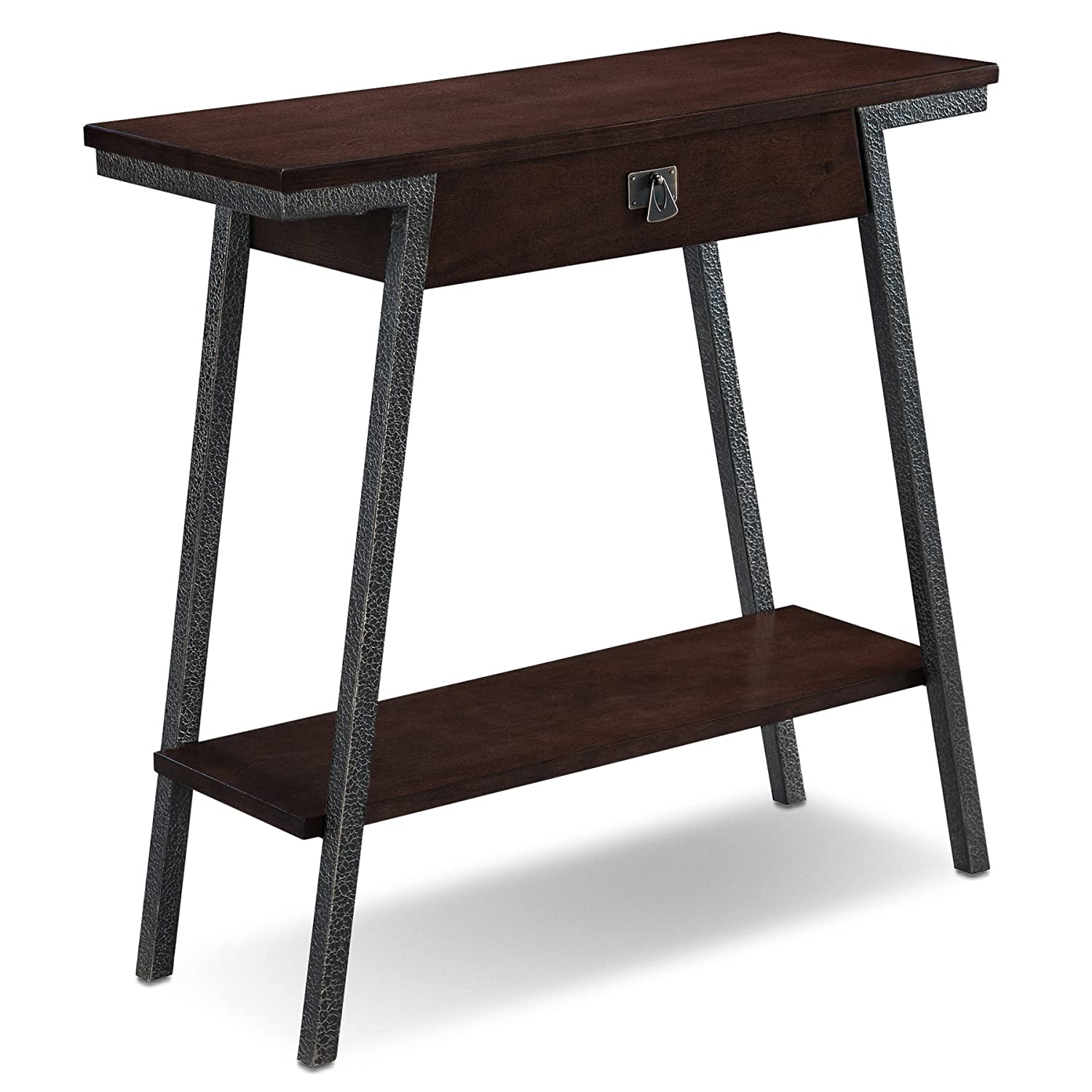 Leick Empiria Modern Industrial 2 Drawers Hall Console – Walnut