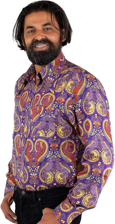 COMYCOM Lila - Camisa de los años 70: Amazon.es: Ropa y accesorios