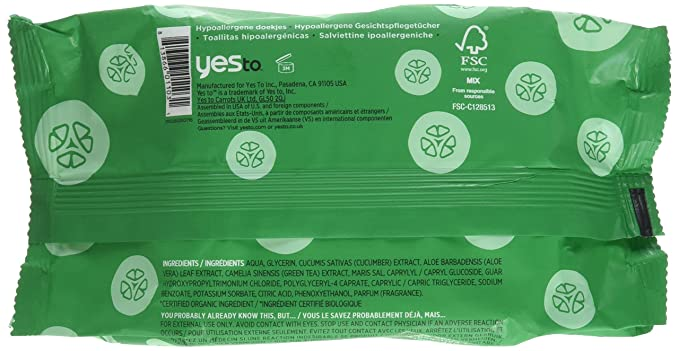 Yes To - Resplandor natural facial de Towelettes de los pepinos - 30Towelette(s): Amazon.es: Salud y cuidado personal