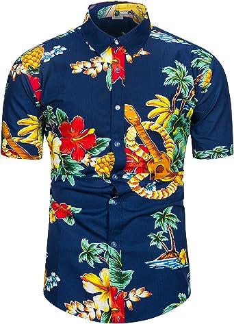 fohemr Camisa Hawaiana de Manga Corta para Hombre Casual Floral Hibiscus Loro Estampado Formales Tropical Camisa