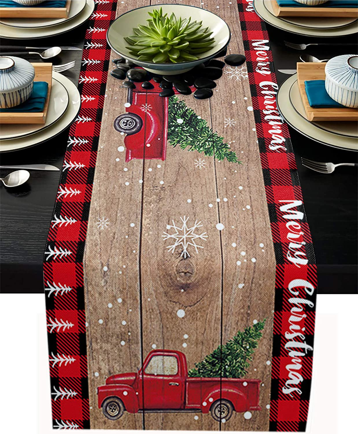 Cotton Linen Table Runner, Christmas Truck with Xmas Trees Red Black Buffalo Plaid Dresser Scarves Tablecloth for Christmas Holidays Decorations Dinner Parties,Non-Slip 13x70inch