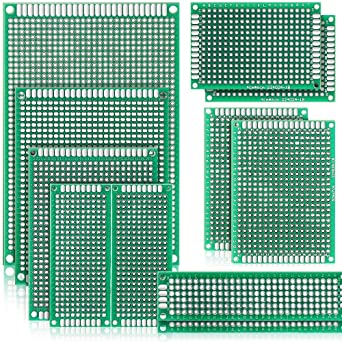 11 PCS PCB Board Prototype Kit,7 Sizes Dual Side Universal Printed Circuit  Board for Soldering Arduino Boards Breadboard Prototyping DIY Small Large