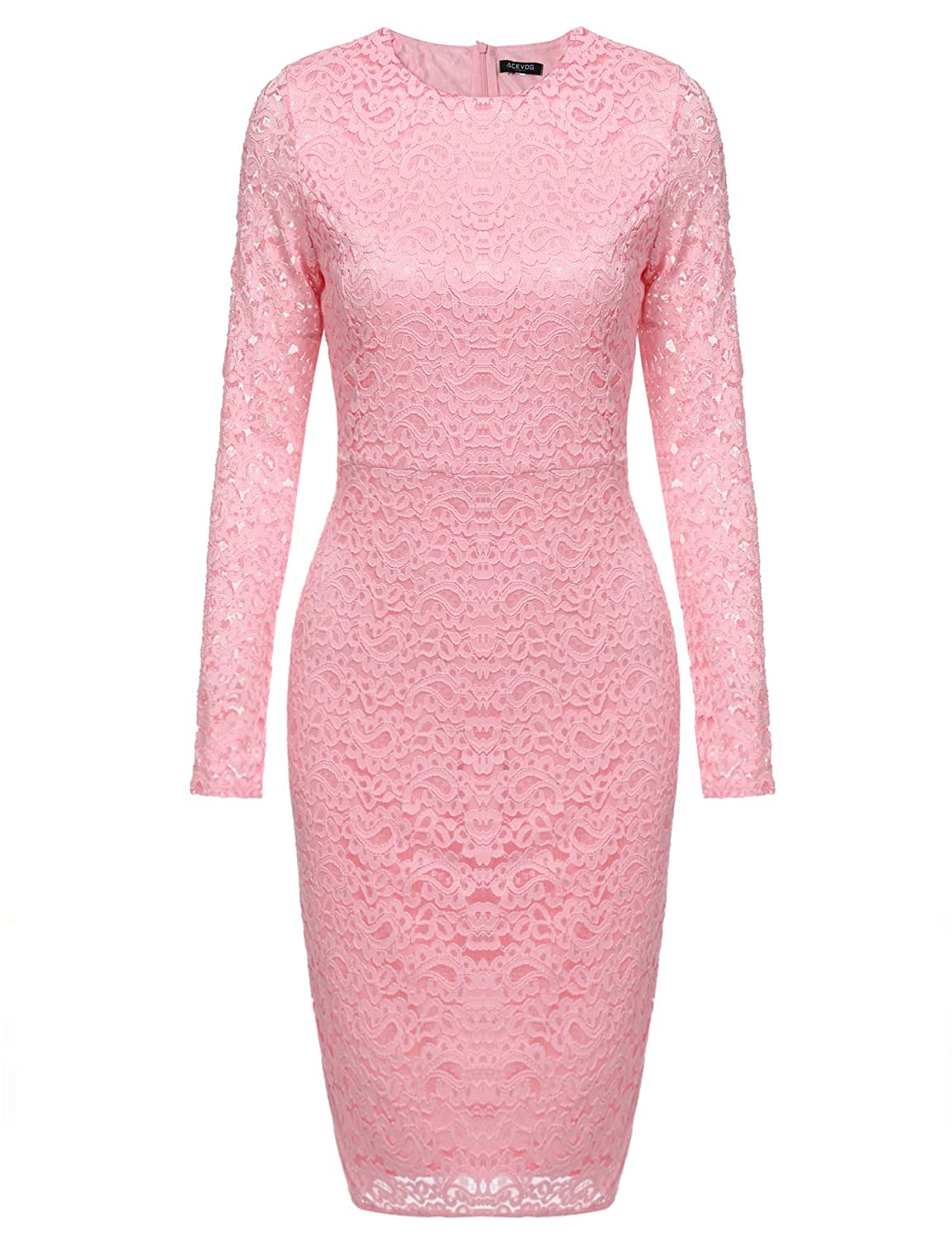 ACEVOG Women Elegant Floral Lace Long Sleeve Bodycon Cocktail Pencil Dress