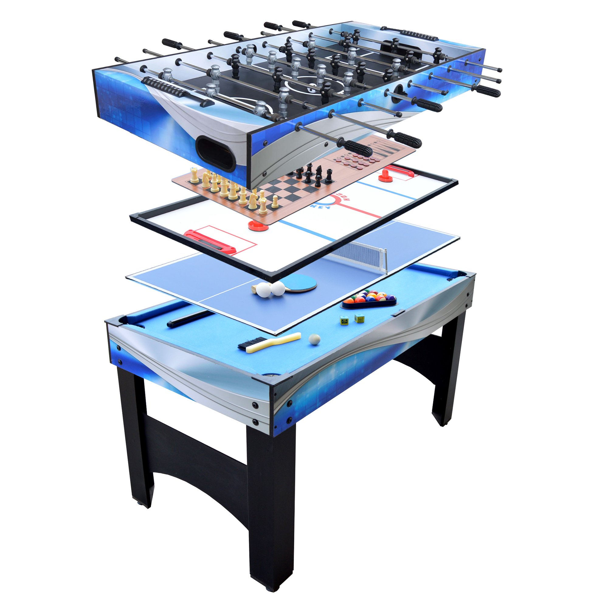 Hathaway Matrix 54-In 7-in-1 Multi Game Table with Foosball, Pool, Glide Hockey, Table Tennis, Chess, Checkers and Backgammon by Hathaway