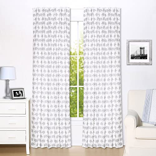 Grey Elephant Print Window Drapery Panels – Set of Two 84 by 42 Inch Panels