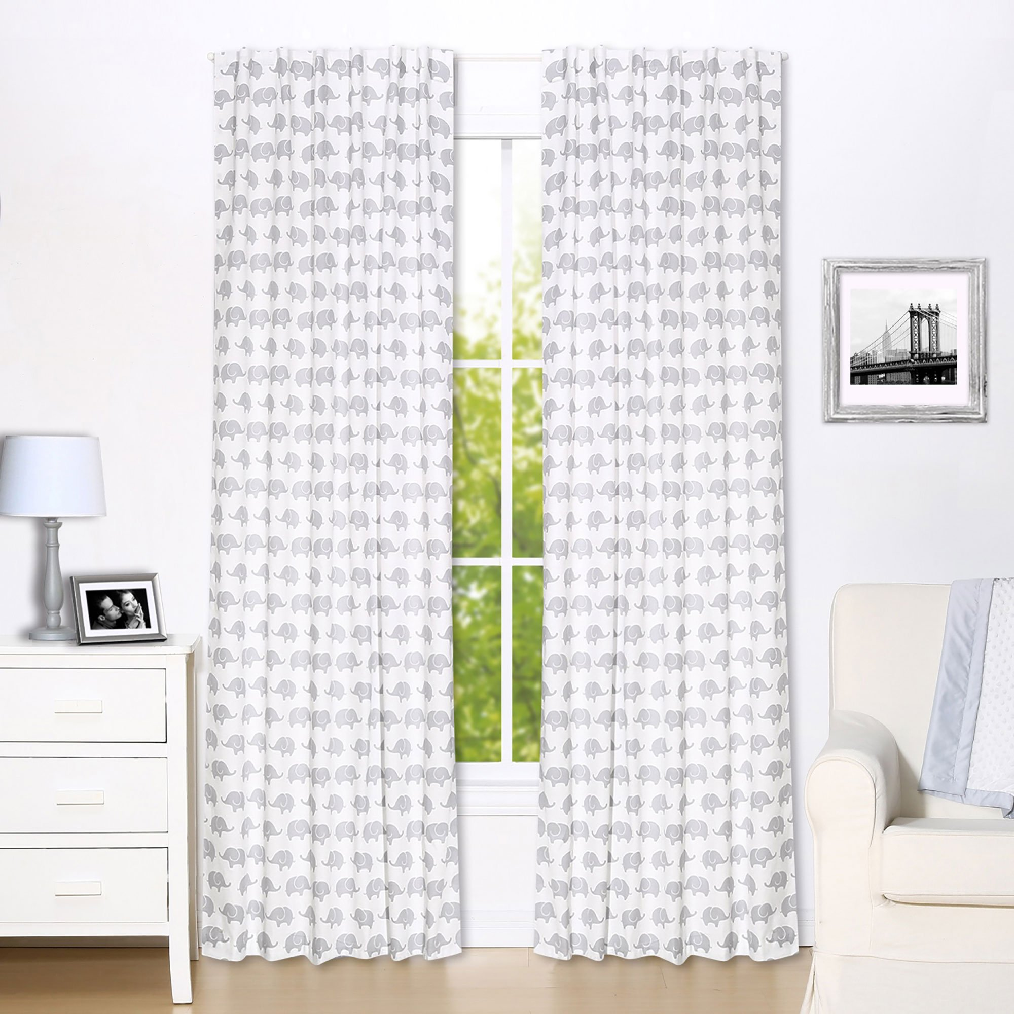 Grey Elephant Print Blackout Window Drapery Panels - Two 84 by 42 Inch Panels
