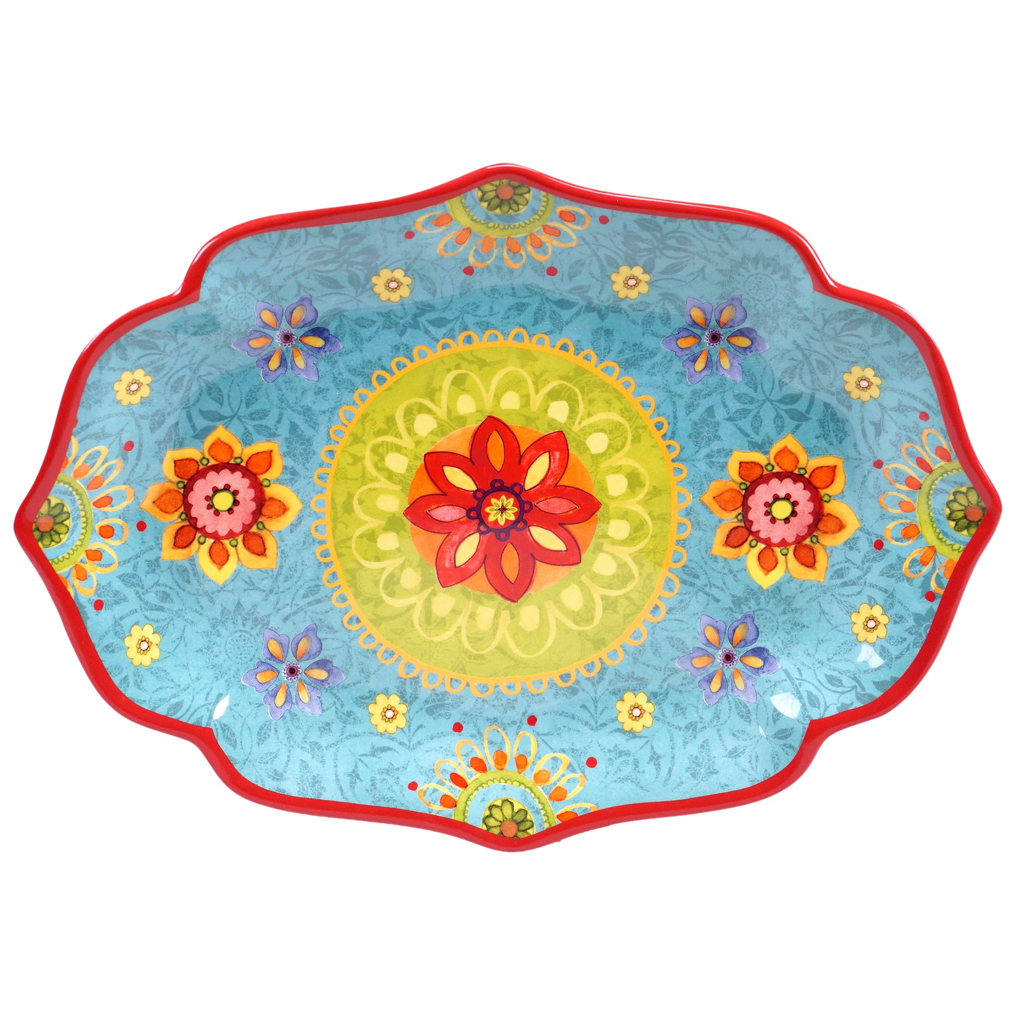 Certified International 22459 Tunisian Sunset Oval Platter, 16'' x 12'', Multicolor