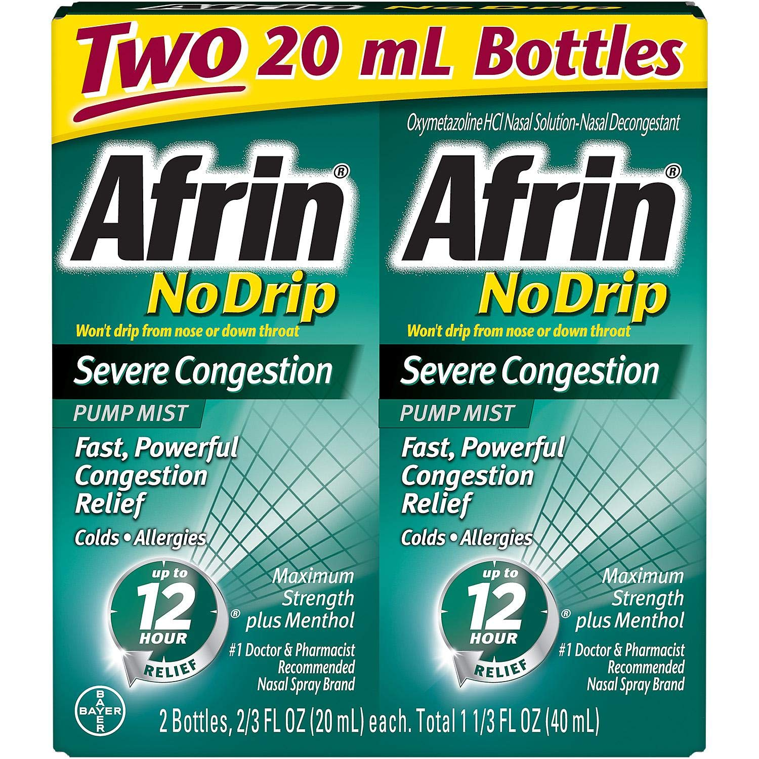 Afrin No Drip Severe Congestion - VarietySize Pack of 4 BottleS (20ml Each) by Afrin