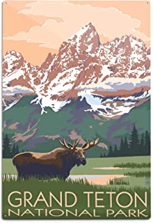 product image for Lantern Press Grand Teton National Park, Wyoming, Moose and Mountains (12x18 Aluminum Wall Sign, Wall Decor Ready to Hang)