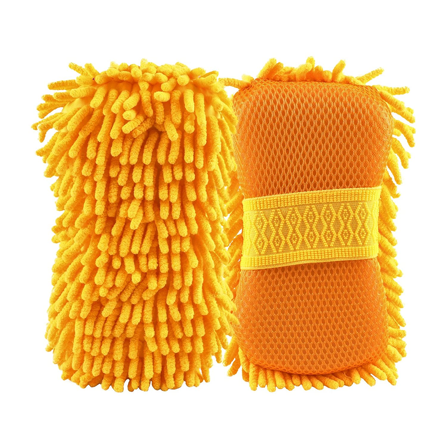 Car Wash Mitt Sponge Chenille Microfiber, GOGOLO Scratch-Free Dual-sided Wash Sponge Highly Absorbent with Handle Strap for Cleaning Auto Vehicle Window Furniture PU Leather Seat