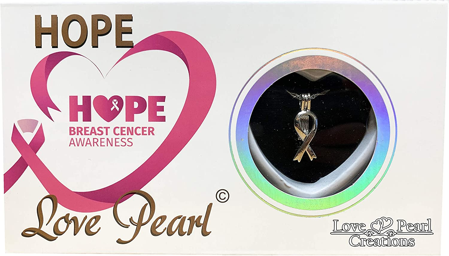 """Cancer  Ribbon  Wish Pearl Mystic Pearl /""""Oyster Necklace Love Pearl"""