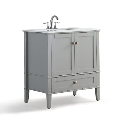 Charmant Simpli Home Chelsea 30 Inch Bath Vanity With White Quartz Marble Top, Grey