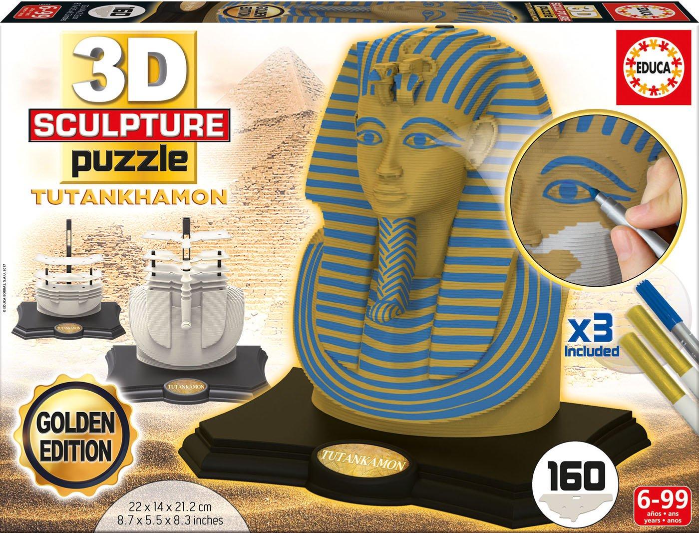 Unica Educa Borras-3D Scultura Toutankhamon Colore Oro 17335 Edition Puzzle 3D