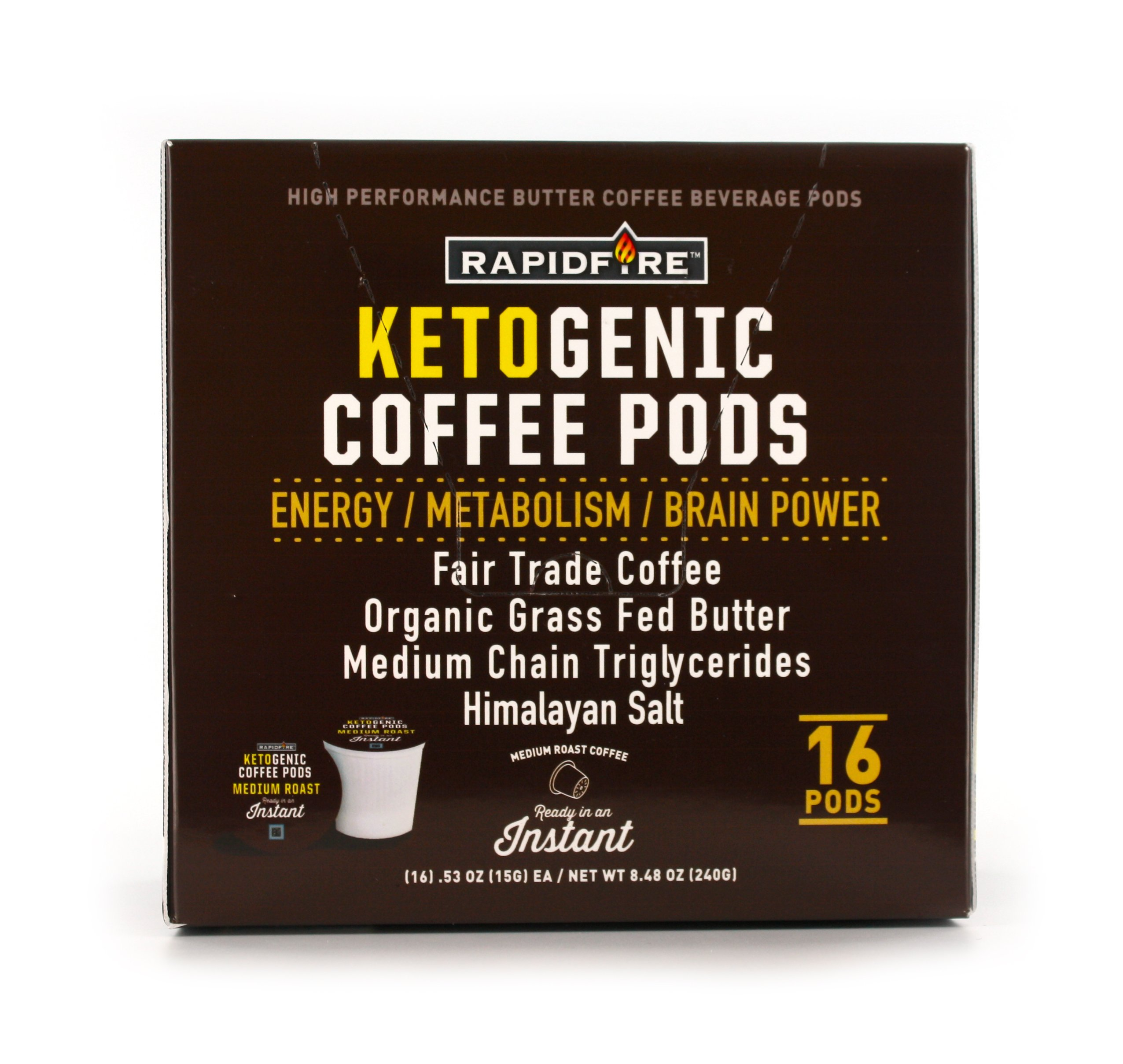 Rapid Fire Ketogenic High Performance Coffee Pods, Supports Energy and Metabolism, 16 Servings