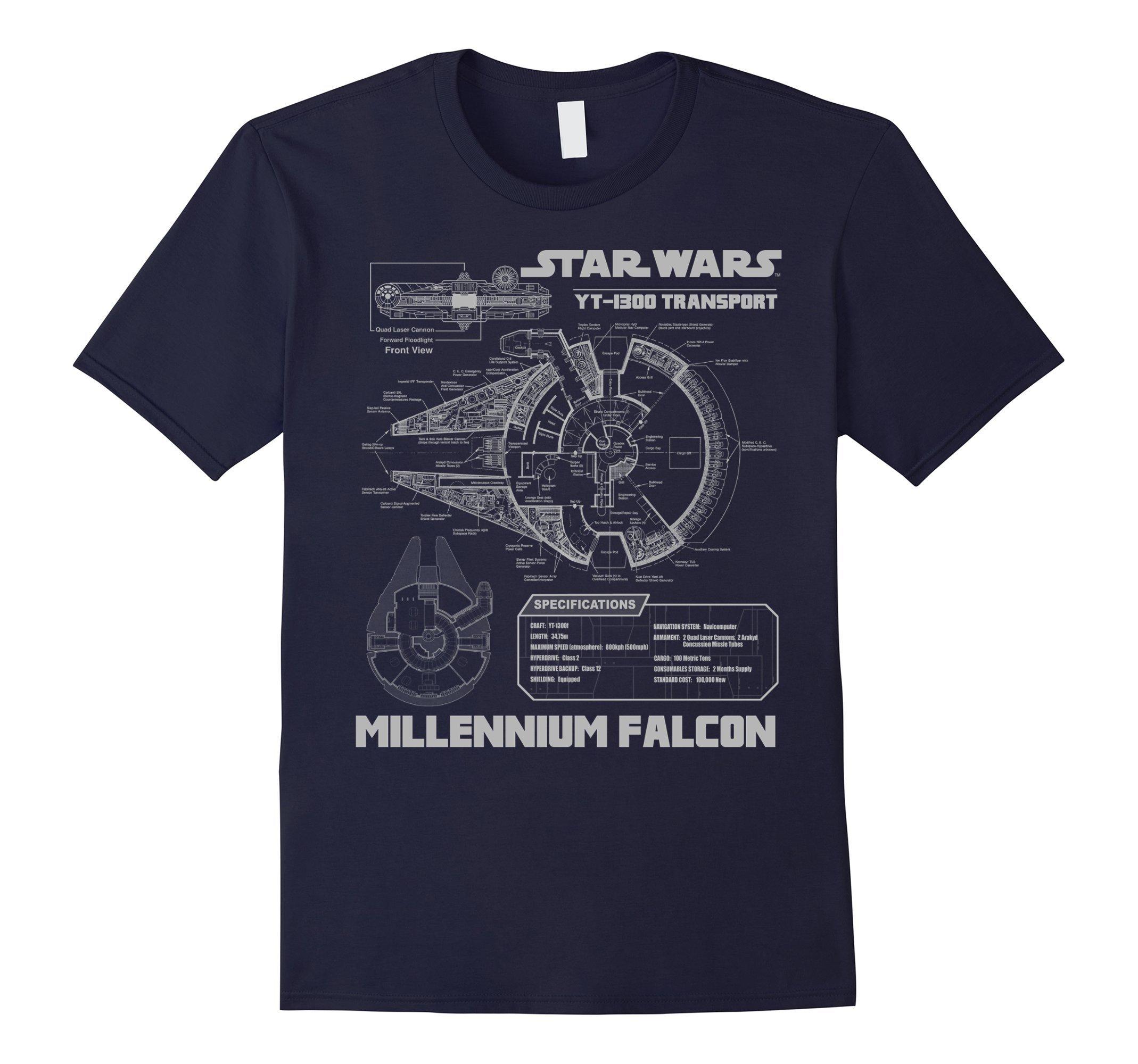 Mens Star Wars Millennium Falcon Grey Schematics Graphic T-Shirt 3XL Navy