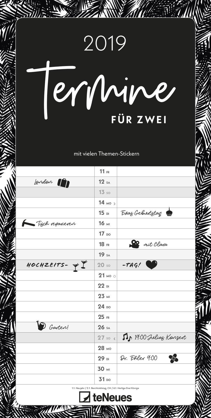 Termine für 2 Black and White 2019- Paarkalender, Spaltenkalender, Kalender für 2  -  23 x 45,5 cm