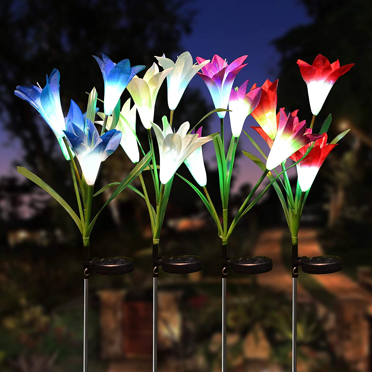 Joiedomi Lily Flower Multi-Color Changing LED Solar Yard Garden Stake Lights 4 Pack, Pathway Outdoor Stake Lights, Waterproof for Walkway, Pathway, Yard, Lawn, Patio or Courtyard