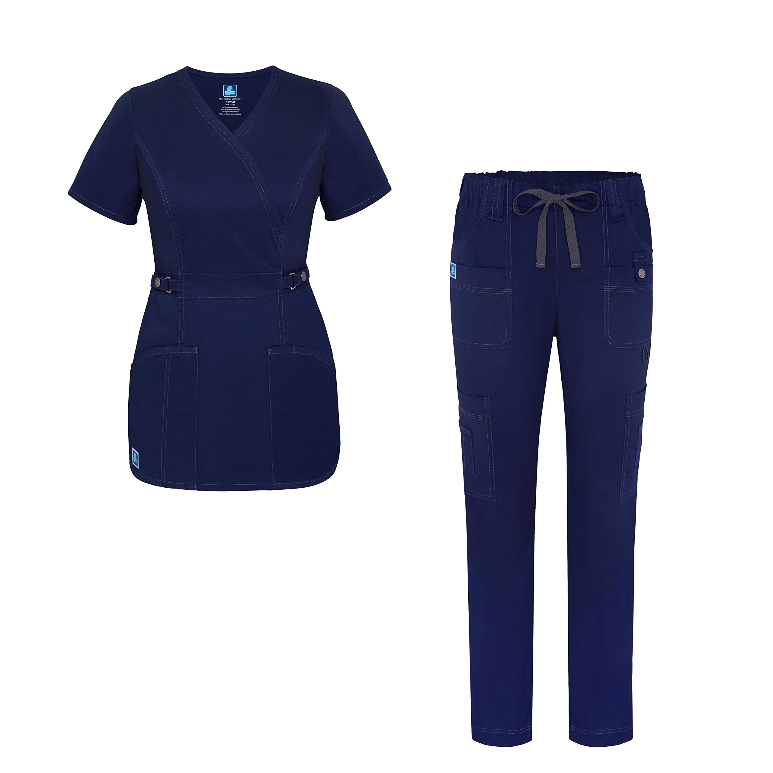 Pop-Stretch Jr. Fit Women Scrub Set - Crossover Scrub Top and Low Rise Slim Pants - 3505 - Navy - XXS