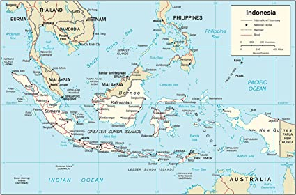 Indonesia Thailand Map.Amazon Com Map Poster Indonesia Transportation Map 9 X 13